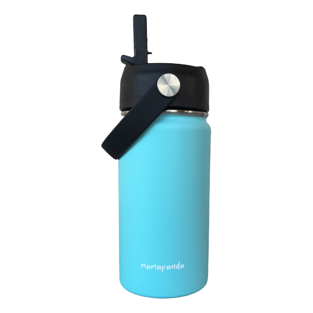 Stainless steel thermos with double wall and nozzle with straw Sky Blue 350ml