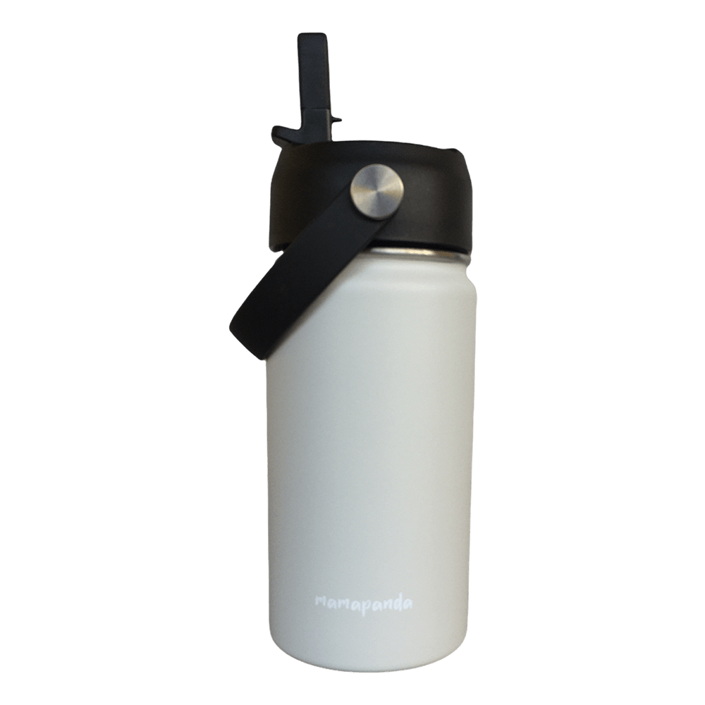 Stainless steel thermos with double wall and nozzle with straw Vanilla 350ml